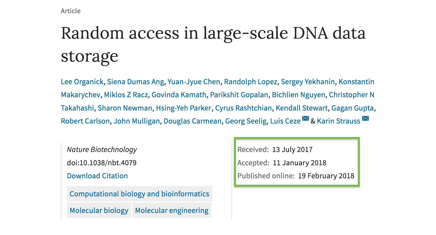 Dna storage long term paper